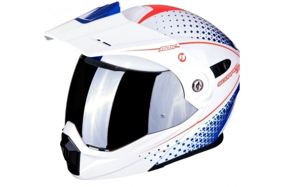 SCORPION CASQUE MODULABLE EXO ADX-1 HORIZON BLANC PERLE ROUGE & BLEU