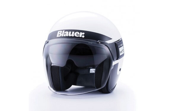 BLAUER CASQUE JET POD STRIPES BLANC NOIR BRILLANT