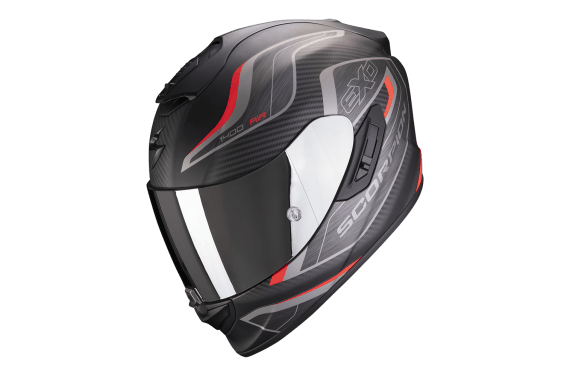 SCORPION CASQUE EXO 1400 AIR ATTUNE NOIR MAT ROUGE