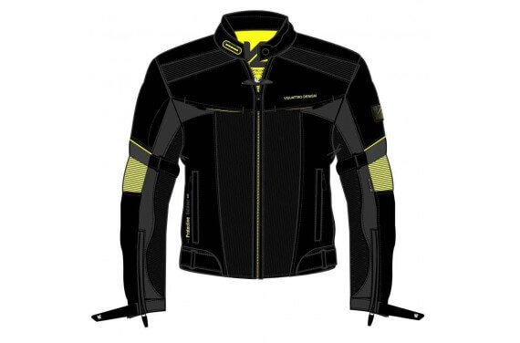 LORENZO JKT MEN JET BLACK ANTHRACITE YELLOW HOMOLOGATED