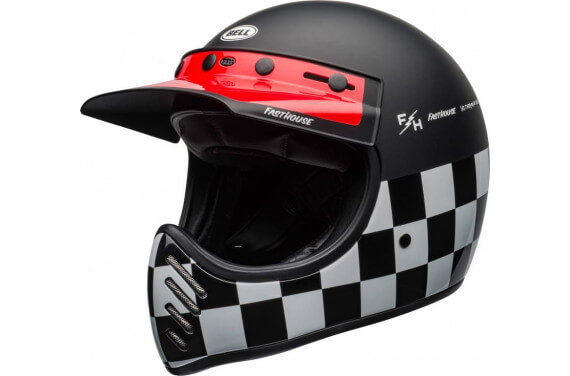BELL CASQUE INTÉGRAL MOTO-3 FASTHOUSE CHECKERS NOIR BLANC ROUGE