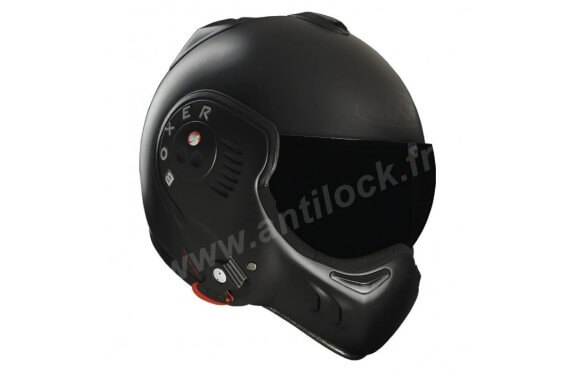 ROOF Casque modulable BOXER V8 FULL BLACK + VISIERE TEINTÉE