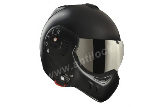 ROOF Casque modulable BOXER V8 FULL BLACK + VISIERE MIROIR IRIDIUM