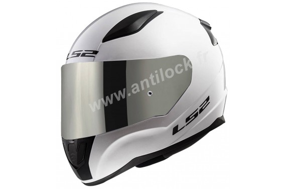 CASQUE INTEGRAL LS2 FF353 RAPID SOLID BLANC WHITE + ECRAN MIROIR IRIDIUM
