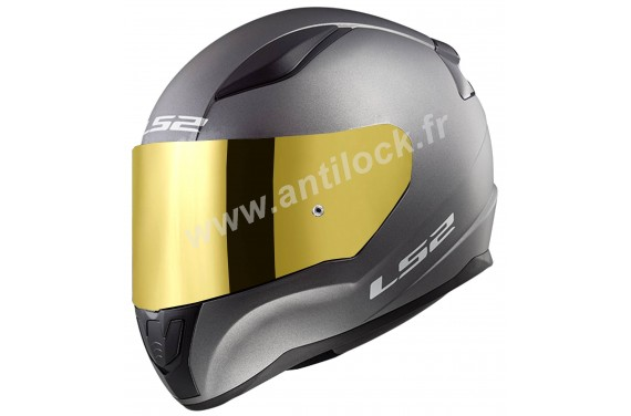 CASQUE INTEGRAL LS2 FF353 RAPID SOLID MATT TITANIUM + ECRAN MIROIR OR