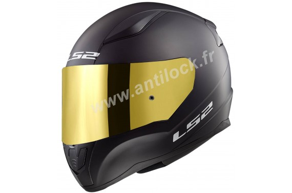 CASQUE INTEGRAL LS2 FF353 RAPID SOLID NOIR BLACK MATT + ECRAN MIROIR OR