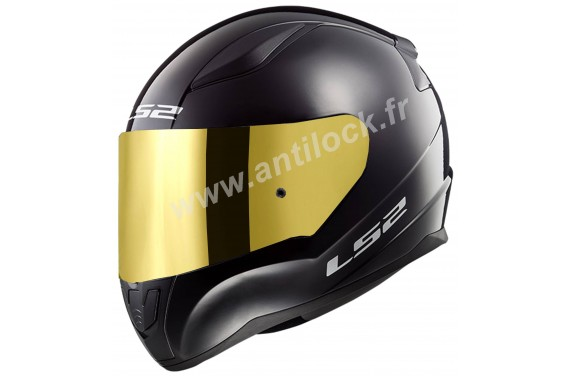 CASQUE INTEGRAL LS2 FF353 RAPID SOLID NOIR BLACK + ECRAN MIROIR OR