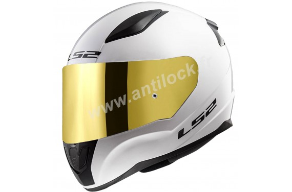 CASQUE INTEGRAL LS2 FF353 RAPID SOLID BLANC WHITE + ECRAN MIROIR OR