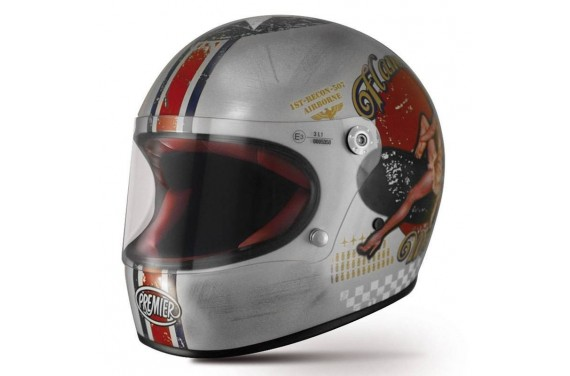 PREMIER CASQUE INTEGRAL TROPHY PIN UP OLD STYLE SILVER
