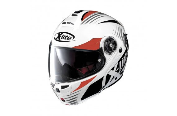 X-LITE CASQUE MODULABLE X1004 NORDHELLE N-COM Metal White/Red-Black