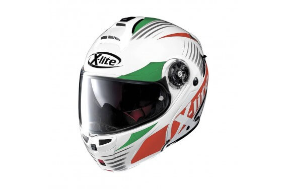 X-LITE CASQUE MODULABLE X1004 NORDHELLE N-COM Metal White/Green-Red