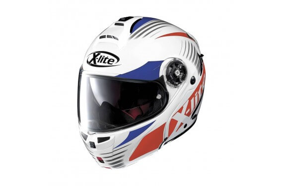X-LITE CASQUE MODULABLE X1004 NORDHELLE N-COM Metal White/Blue-Red